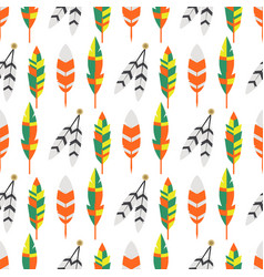 Tribal flat feather bird vintage colorful ethnic vector