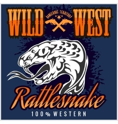 Wild west and rattlesnake - vintage artwork vector image vector image