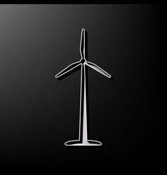 Wind turbine logo or sign gray 3d printed vector