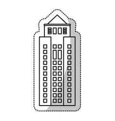 building facade windows cut line vector image