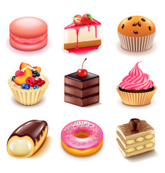 Cakes icons set vector