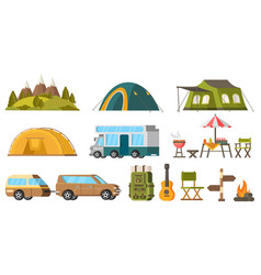 traveling camping elements set vector image