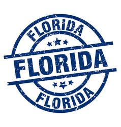 Florida blue round grunge stamp vector