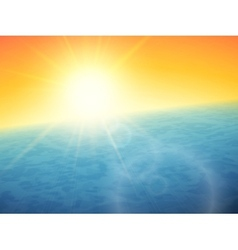Sunset at sea horizon with summer sun vector image