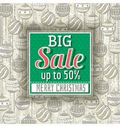 Green christmas background and sale offer vector