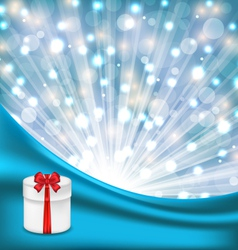 gift box with red bow on glowing background - vector image