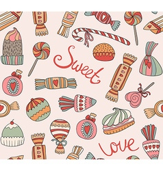 Seamless pattern with sweets and cakes vector