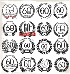60 years anniversary laurel wreaths vector