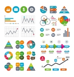 Business signs graph chart and case icons vector