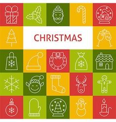 Line art modern merry christmas holiday icons set vector