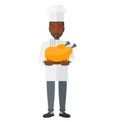 Man holding roasted chicken vector