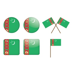 Badges with flag of turkmenistan vector
