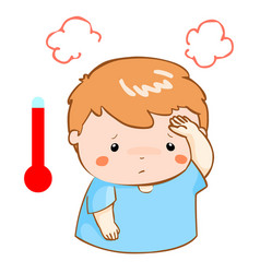 Boy got fever high temperature cartoon vector