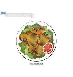 Breadfruit salad one of most famous food vector