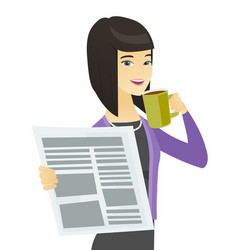 Business woman with cup of coffee and newspaper vector
