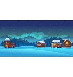 Cartoon winter landscape background vector image