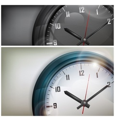 Clocks on white and black vector image