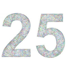 Colorful sketch anniversary design - number 25 vector