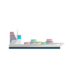 container ship isolated icon in flat design vector image vector image
