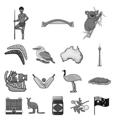 Country australia monochrome icons in set vector