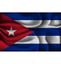 crumpled flag of Cuba a light background vector image