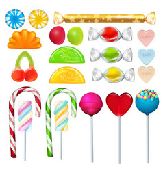 different sweets and candies from sugar realistic vector image vector image