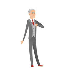 Disappointed caucasian businessman with thumb down vector