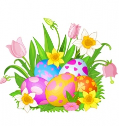 Easter eggs in a grass vector image vector image