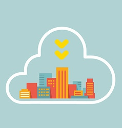 flat style modern city within the cloud vector image vector image