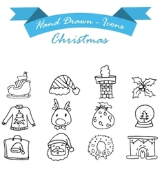 Hand draw of christmas icon set vector