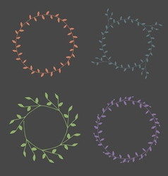 Hand-drawn branches wreaths color set vector