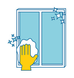 Hand wiping window with cloth vector