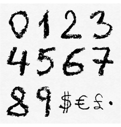Hand written charcoal numbers vector image vector image