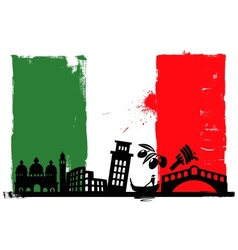 Italy flag and silhouettes vector image vector image
