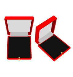 Jewelry gift box red case vector