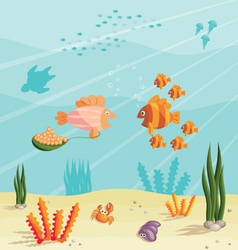 Life of small fishes vector image vector image