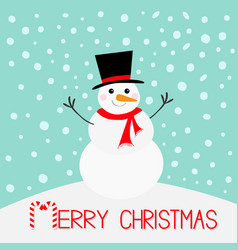 Merry christmas snowman carrot nose hat red scarf vector