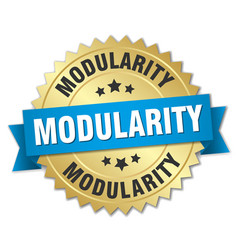 Modularity round isolated gold badge vector