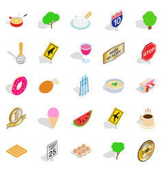 natural food icons set isometric style vector image vector image