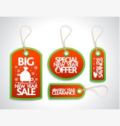 New year sale tags set red vector