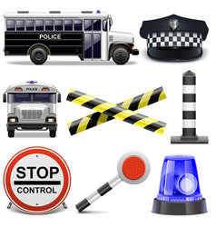 Police icons vector