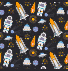 Seamless pattern with space exploration vector
