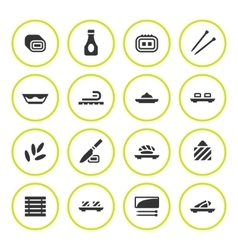 Set round icons of sushi vector