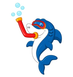 Shark with diving equipment vector