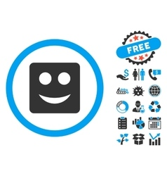 Square Smile Flat Icon with Bonus vector image