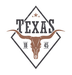 texas state tee print with longhorn skull vector image vector image