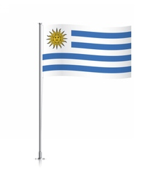 Uruguay flag waving on a metallic pole vector image vector image