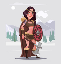 Viking woman warrior character with sword vector