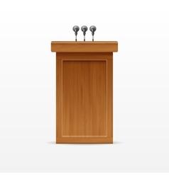 Wood Podium Tribune Rostrum Stand with Microphones vector image