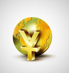 World economic concept with 3d gold world and yuan vector